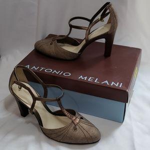 NIB Antonio Melani Beauty Bronze T-Strap Heels 8.5